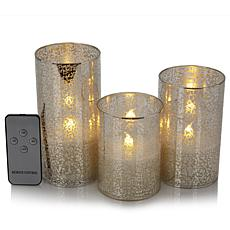 David Monn for Winter Lane 3pk Flameless Pillar Candles