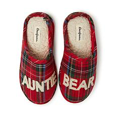 Dearfoams Auntie Bear Plaid Clog