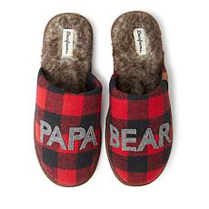 Dearfoams Men's Buffalo Check Papa Bear Scuff