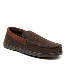 Dearfoams Men's Microwool Moccasin with Faux Leather Trim