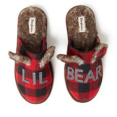 Dearfoams Unisex Buffalo Check Lil Bear Scuff