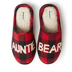 Dearfoams Women's Buffalo Check Auntie Bear Clog Slipper