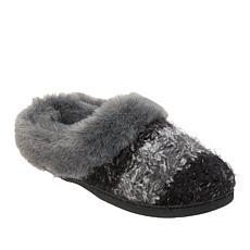 Dearfoams Women's Cable Knit Clog with Faux Fur Trim