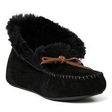 Dearfoams Women's Genuine Suede Foldover Moccasin with Tie