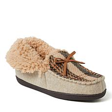Dearfoams Women's Marley Blanket Plaid Foldover Moccasin