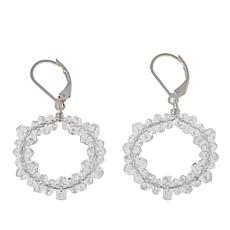 "Deb Guyot 20ctw Herkimer ""Diamond"" Quartz Eternity Hoop Drop Earrings"