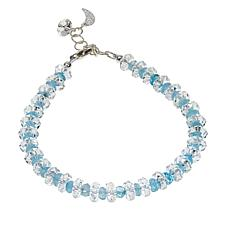 "Deb Guyot 37.18ctw Herkimer ""Diamond"" Quartz and Aquamarine Bracelet"