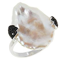 Deb Guyot Studio Semi-Baroque Pearl and Black Spinel Ring