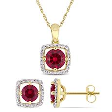 Delmar 10K Gold Created Ruby & Diamond Pendant Necklace and Earrings
