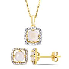 Delmar 10K Gold Opal & Diamond Pendant Necklace and Stud Earrings