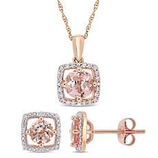 Delmar 10K Rose Gold Morganite & Diamond Pendant Necklace & Earrings