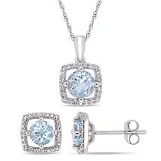 Delmar 10K White Gold Aquamarine & Diamond Pendant Necklace & Earrings
