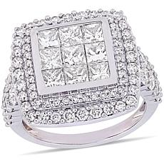 Delmar 14K White Gold 2.87ctw Diamond Cluster Engagement Ring