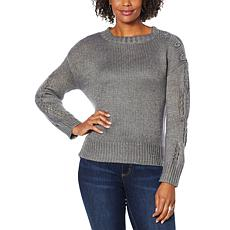 Democracy Beaded Button Metallic Cable Sweater