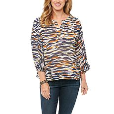 Democracy Ruched 3/4 Sleeve Half-Placket Neck Animal Print Woven Top