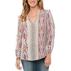 Democracy Ruffle Cascade Long Sleeve Woven Print Top