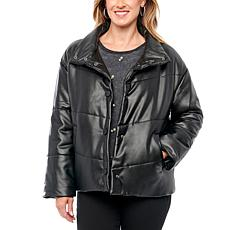 Democracy Vegan Leather Puffer Jacket