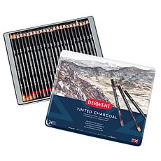 Derwent 24-count Tinted Charcoal Pencils