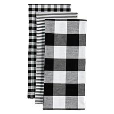 Design Imports 3-pack Assorted Mixed Check Kitchen Towels