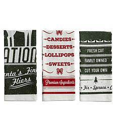 Design Imports 3-piece Holiday Vintage Flour Sack Kitchen Towel Set