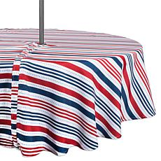 "Design Imports 52"" Patriotic Stripe Round Outdoor Tablecloth w/Zipper"