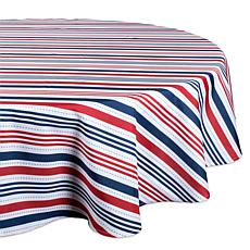 "Design Imports 60"" Patriotic Stripe Round Outdoor Tablecloth"