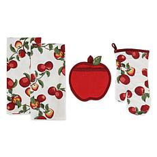 Design Imports Apple Orchard Print Kitchen Set 4-pack