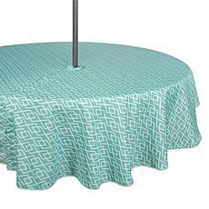"Design Imports Aqua Diamond Outdoor Round Tablecloth w/Zipper - 52"""