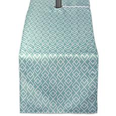 "Design Imports Aqua Diamond Outdoor Table Runner w/Zipper - 14"" x 108"""
