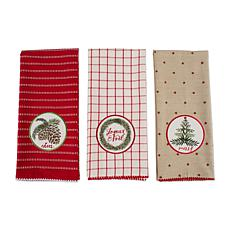 Design Imports Assorted Noel Kitchen Towel Set of 3