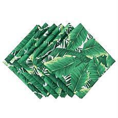 Design Imports Banana Leaf Print Outdoor Napkin Set of 6