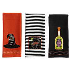 Design Imports Bewitched Embellished Kitchen Towel Set of 3
