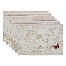 Design Imports Botanical Butterfly Embroidered Placemat Set of 6