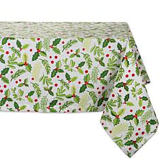 Design Imports Boughs of Holly Print Tablecloth 60-inch by 120-inch