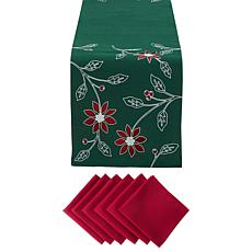 Design Imports Embroidered Poinsettias Table Set