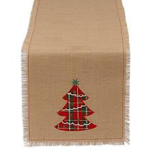 Design Imports Embroidered Tree Burlap Table Runner 14-inch x 72-inch