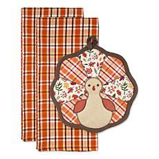 Design Imports Gobble Turkey Potholder Gift Set