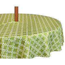 "Design Imports Green Lattice Outdoor Round Tablecloth w/Zipper - 52"""