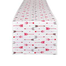 "Design Imports Hearts and Arrow Print Table Runner - 14"" x 72"""