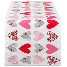 "Design Imports Hearts Collage Print Table Runner - 14"" x 108"""