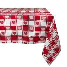 "Design Imports Hearts Woven Check Tablecloth - 60"" x 84"""
