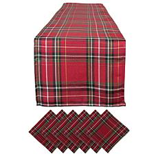 Design Imports Holiday Metallic Plaid Table Set