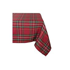 "Design Imports Holiday Metallic Plaid Tablecloth 52"" x 52"""