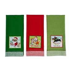 Design Imports Holiday Pup Kitchen Towel Set of 3