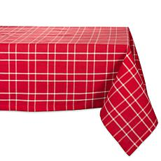 Design Imports Holly Berry Farmhouse Plaid Tablecloth 60-in x 104-in