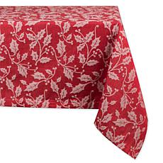 Design Imports Holly Flourish Jacquard Tablecloth 60-inch by 120-inch