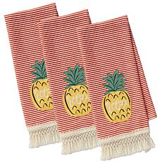 Design Imports Island Tropics Pineapple Kitchen Towels 3-pack