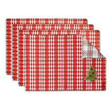 Design Imports Jolly Tree Reversible Embellished Placemat 4-pack