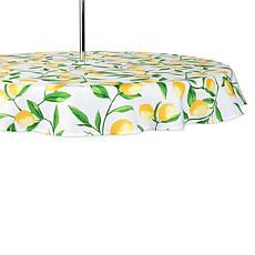 "Design Imports Lemon Bliss Outdoor Round Tablecloth w/Zipper - 60"""