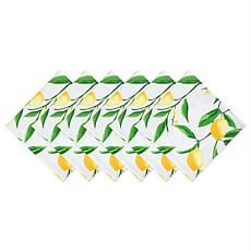 Design Imports Lemon Bliss Print Outdoor Napkin Set of 6